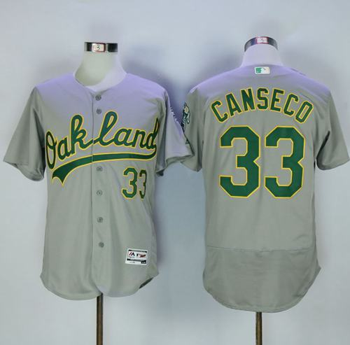 Athletics #33 Jose Canseco Grey Flexbase Authentic Collection Stitched MLB Jersey