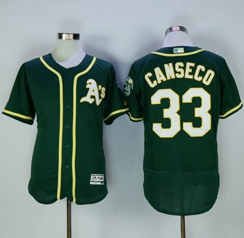 Athletics #33 Jose Canseco Green Flexbase Authentic Collection Stitched MLB Jersey
