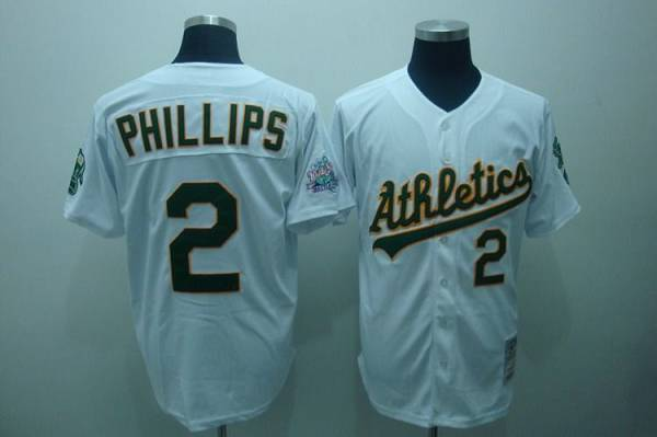 Mitchell and Ness Athletics #2 Tony Phillips Stitched White Throwback MLB Jersey