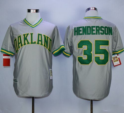 Mitchell And Ness Athletics #35 Rickey Henderson Grey Stitched MLB Jersey