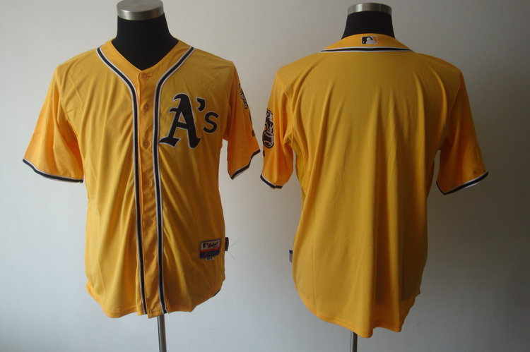 Athletics Blank Yellow Cool Base Stitched MLB Jersey