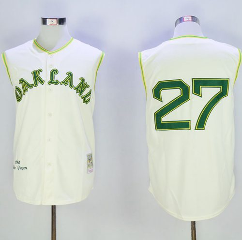 Mitchell And Ness 1968 Athletics #27 Catfish Hunter Cream Throwback Stitched MLB Jersey