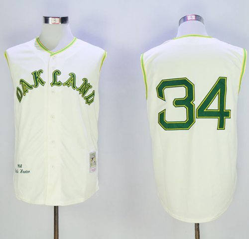 Mitchell And Ness 1968 Athletics #34 Rollie Fingers Cream Throwback Stitched MLB Jersey