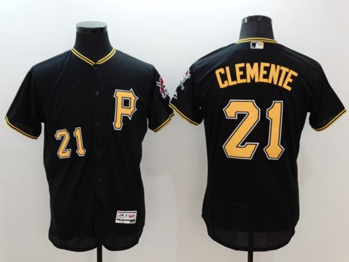 Pirates #21 Roberto Clemente Black Flexbase Authentic Collection Stitched MLB Jersey