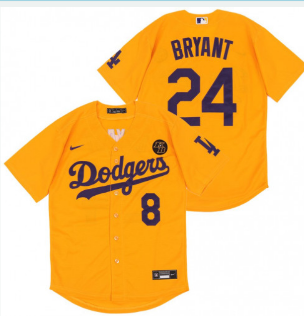 Men's Los Angeles Dodgers Gold #8 #24 Kobe Bryant KB Patch Stitched MLB Jersey