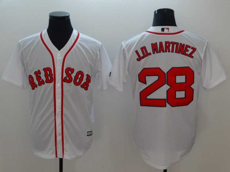 Men's Boston Red Sox #28 J.D. Martinez White Cool Base Stitched MLB Jersey