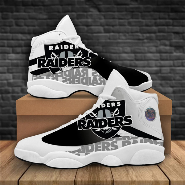 Women's Las Vegas Raiders AJ13 Series High Top Leather Sneakers 006