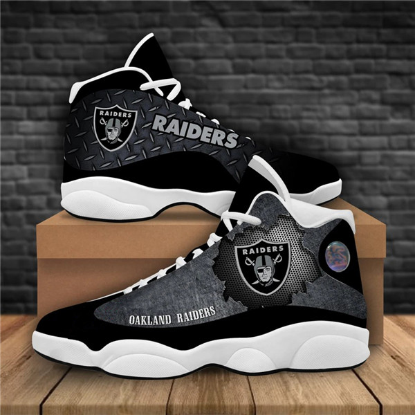 Women's Las Vegas Raiders AJ13 Series High Top Leather Sneakers 007