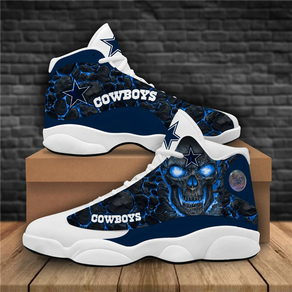 Women's Dallas Cowboys AJ13 Series High Top Leather Sneakers 006