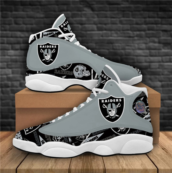 Women's Las Vegas Raiders AJ13 Series High Top Leather Sneakers 008