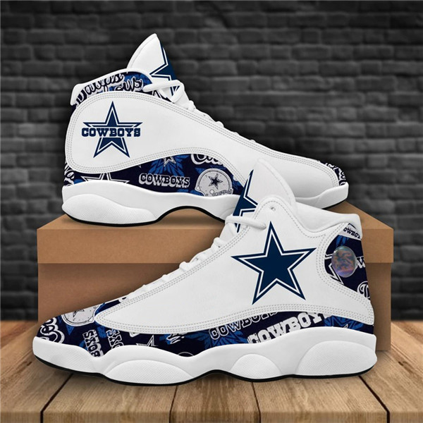 Women's Dallas Cowboys AJ13 Series High Top Leather Sneakers 007