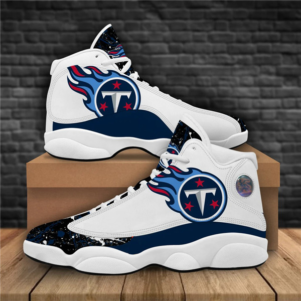 Women's Tennessee Titans AJ13 Series High Top Leather Sneakers 002