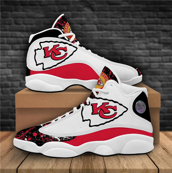 Women's Kansas City Chiefs AJ13 Series High Top Leather Sneakers 001