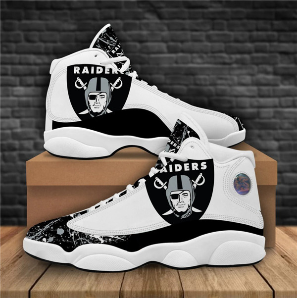 Women's Las Vegas Raiders AJ13 Series High Top Leather Sneakers 004