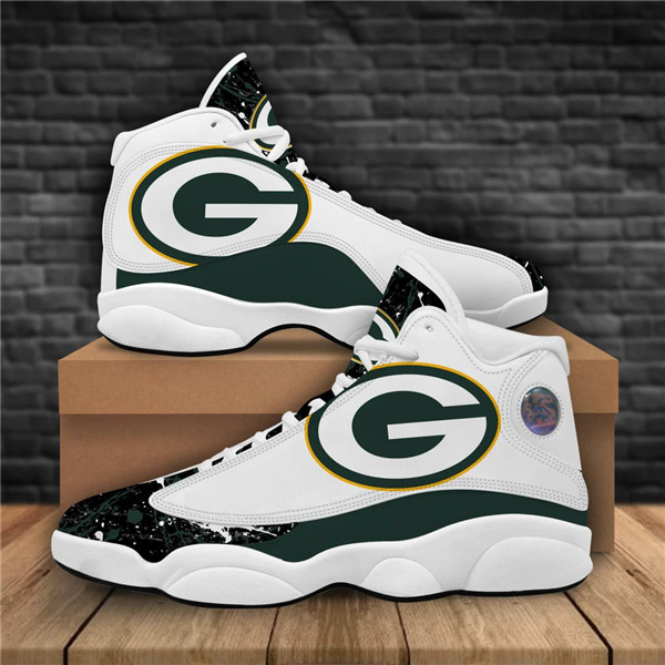 Women's Green Bay Packers AJ13 Series High Top Leather Sneakers 001