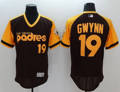 Padres #19 Tony Gwynn Brown/Gold Flexbase Authentic Collection Cooperstown Stitched MLB Jersey