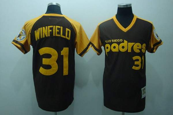 Mitchell and Ness Padres #31 Dave Winfield Stitched Coffee Throwback MLB Jersey