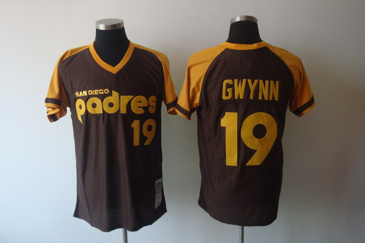 Mitchell and Ness Padres #19 Tony Gwynn Coffee Stitched Throwback MLB Jersey