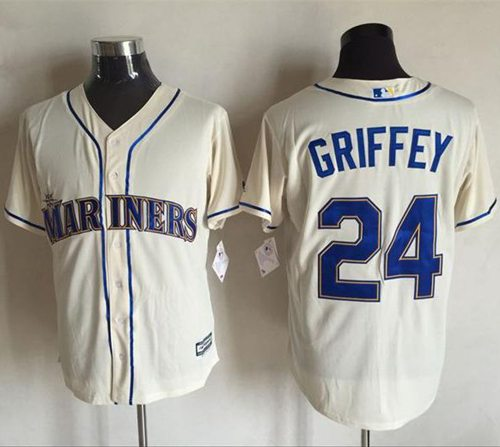 Mariners #24 Ken Griffey Cream New Cool Base Stitched MLB Jersey
