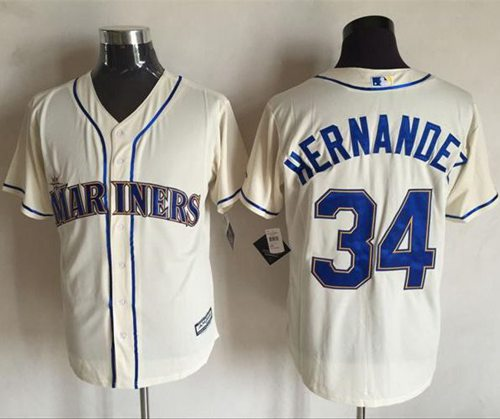 Mariners #34 Felix Hernandez Cream New Cool Base Stitched MLB Jersey