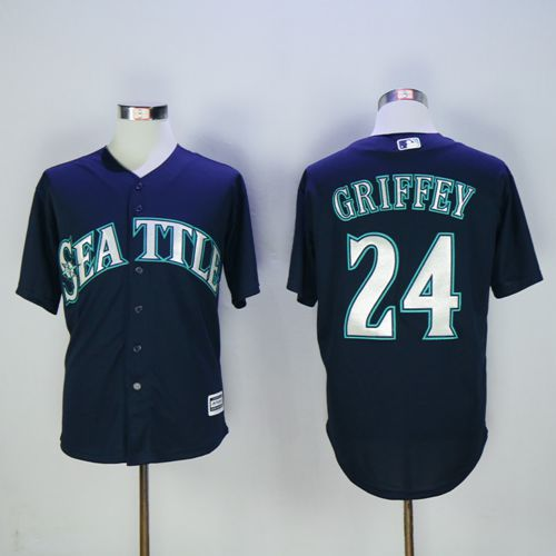 Mariners #24 Ken Griffey Navy blue New Cool Base 2016 Hall Of Fame Patch Stitched MLB Jersey