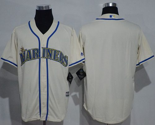 Mariners Blank Cream New Cool Base Stitched MLB Jersey