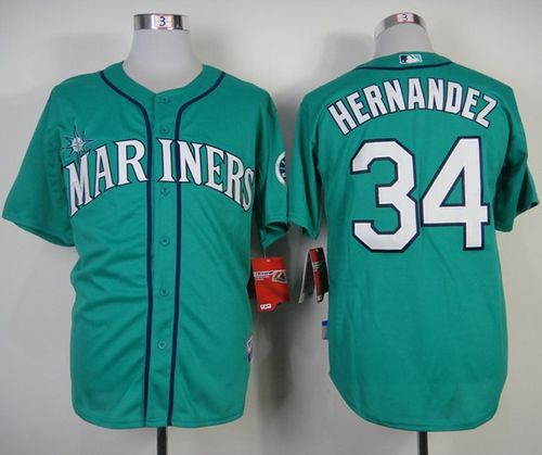 Mariners #34 Felix Hernandez Green Alternate Cool Base Stitched MLB Jersey