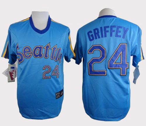 Mariners #24 Ken Griffey Light Blue Cooperstown Throwback Stitched MLB Jersey
