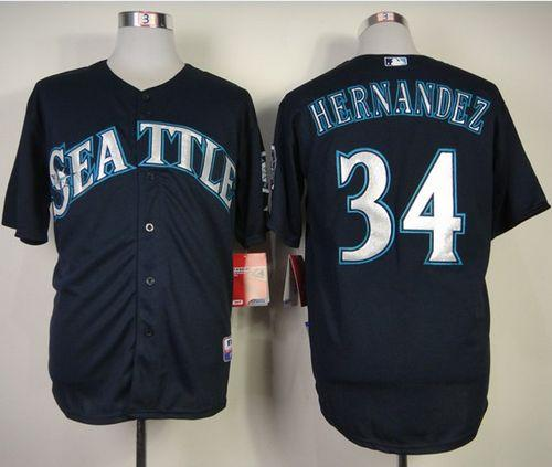 Mariners #34 Felix Hernandez Navy Blue Cool Base Stitched MLB Jersey