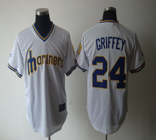 Mariners #24 Ken Griffey White Cooperstown Throwback Stitched MLB Jersey