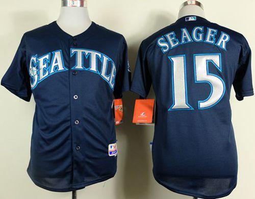 Mariners #15 Kyle Seager Navy Blue Cool Base Stitched MLB Jersey