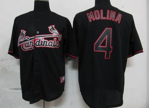 Cardinals #4 Yadier Molina Black Fashion Stitched MLB Jersey