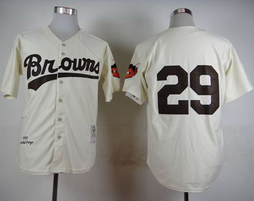 Mitchell And Ness 1953 Browns #29 Satchel Paige Cream Throwback Stitched MLB Jersey