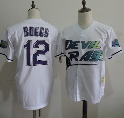 Mitchell And Ness Rays #12 Wade Boggs White Throwback Stitched MLB Jersey