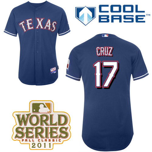Rangers #17 Nelson Cruz Blue Cool Base 2011 World Series Patch Stitched MLB Jersey