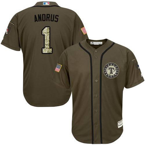 Rangers #1 Elvis Andrus Green Salute to Service Stitched MLB Jersey