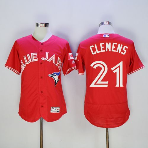 Blue Jays #21 Roger Clemens Red Flexbase Authentic Collection Canada Day Stitched MLB Jersey