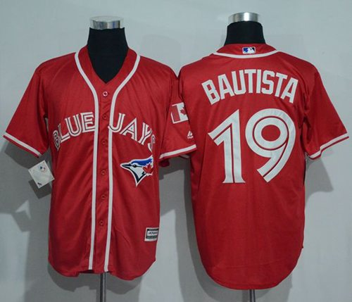 Blue Jays #19 Jose Bautista Red New Cool Base Canada Day Stitched MLB Jersey