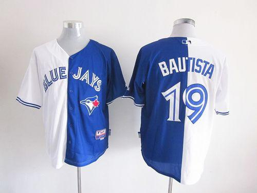 Blue Jays #19 Jose Bautista White/Blue Split Fashion Stitched MLB Jersey