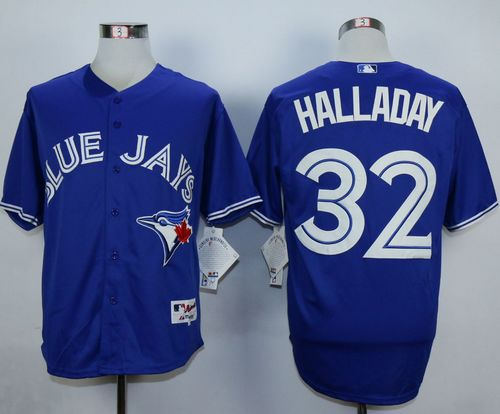 Blue Jays #32 Roy Halladay Blue Cool Base Stitched MLB Jersey