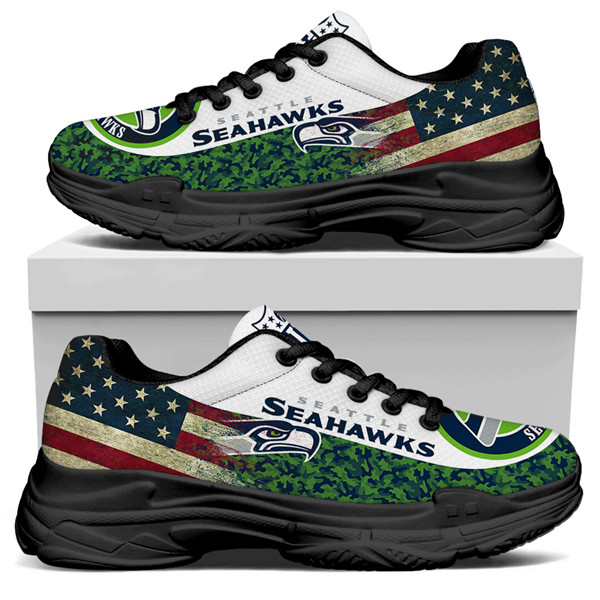 Women's Seattle Seahawks Edition Chunky Sneakers With Line 001