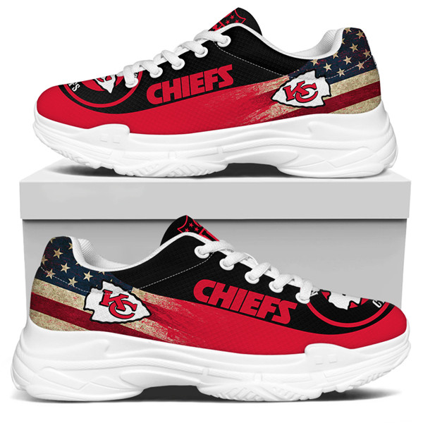 Women's Kansas City Chiefs Edition Chunky Sneakers With Line 004