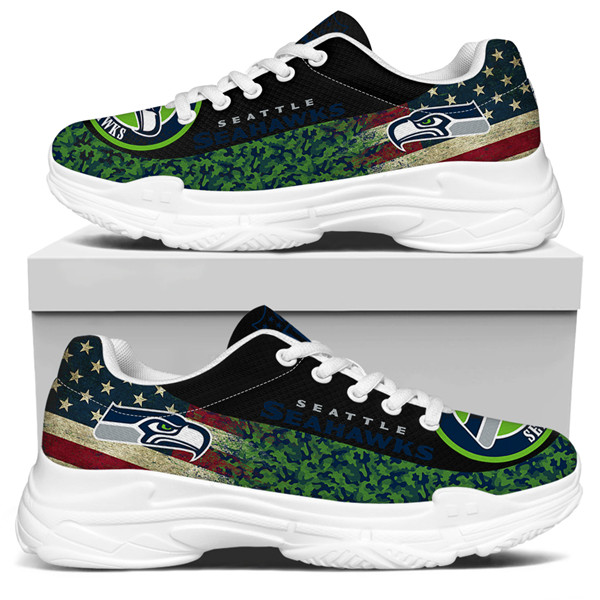 Women's Seattle Seahawks Edition Chunky Sneakers With Line 004