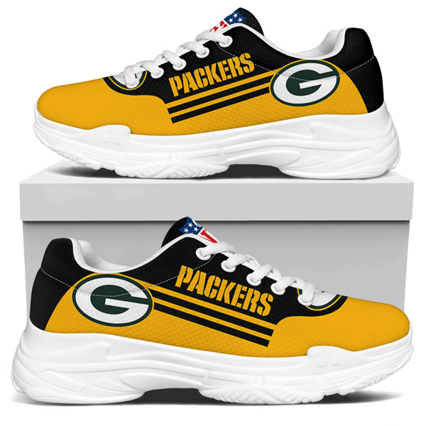 Women's Green Bay Packers Edition Chunky Sneakers With Line 002