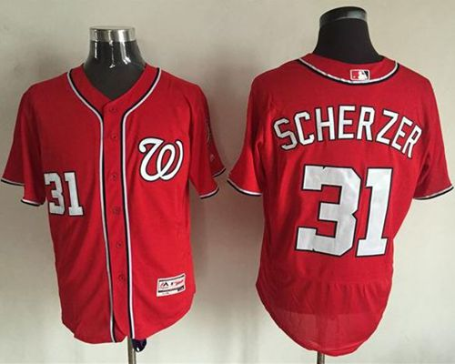 Nationals #31 Max Scherzer Red Flexbase Authentic Collection Stitched MLB Jersey