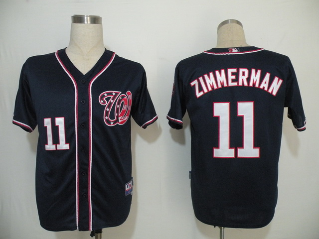 Nationals #11 Ryan Zimmerman Navy Blue Cool Base Stitched MLB Jersey