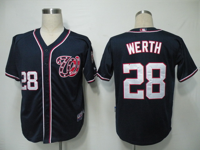 Nationals #28 Jayson Werth Navy Blue Cool Base Stitched MLB Jersey