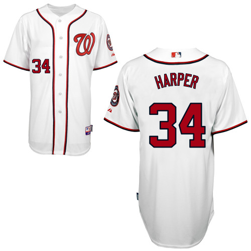 Nationals #34 Bryce Harper White Cool Base Stitched MLB Jersey