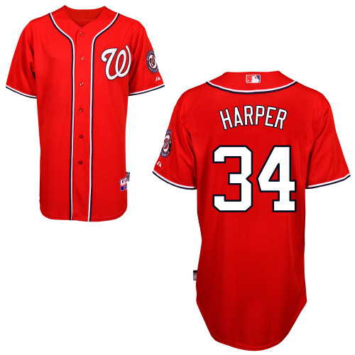 Nationals #34 Bryce Harper Red Cool Base Stitched MLB Jersey