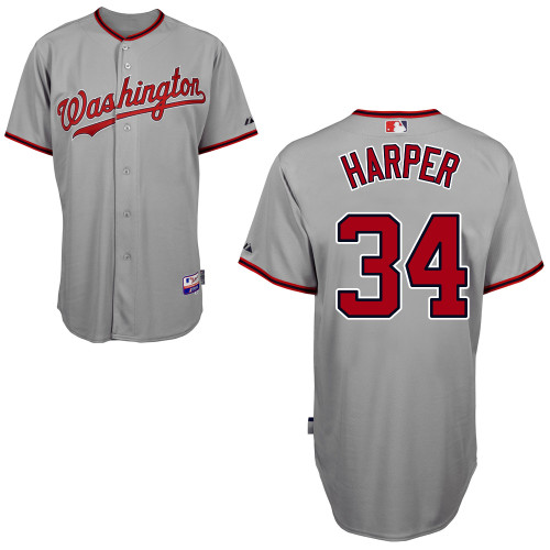 Nationals #34 Bryce Harper Grey Cool Base Stitched MLB Jersey